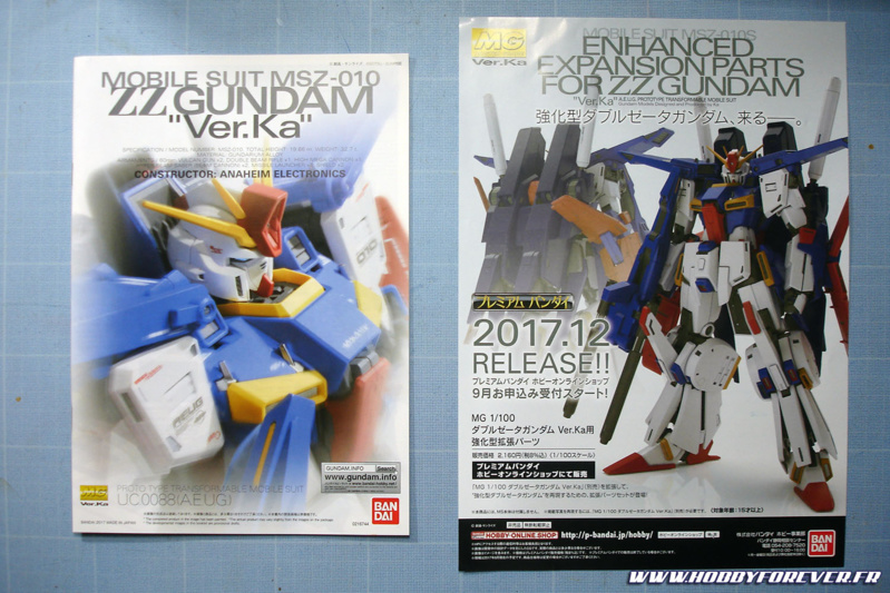 """La notice avec une pub pour le """"Enhanced expansion parts"""", un set permettant comme son nom l'indique de faire la version Enhanced ZZ Gundam. Evidemment c'est du P-Bandai, donc exclusivité japonaise de la boutique en ligne Bandai Hobby Proshop, vendu au prix fort."""