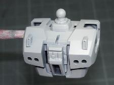 Buste de Gundam MkII 1/144 apprété à l'aérographe au Mr Surfacer 1000