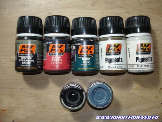 Les différentes peintures et les pigments utilisés pour la patine