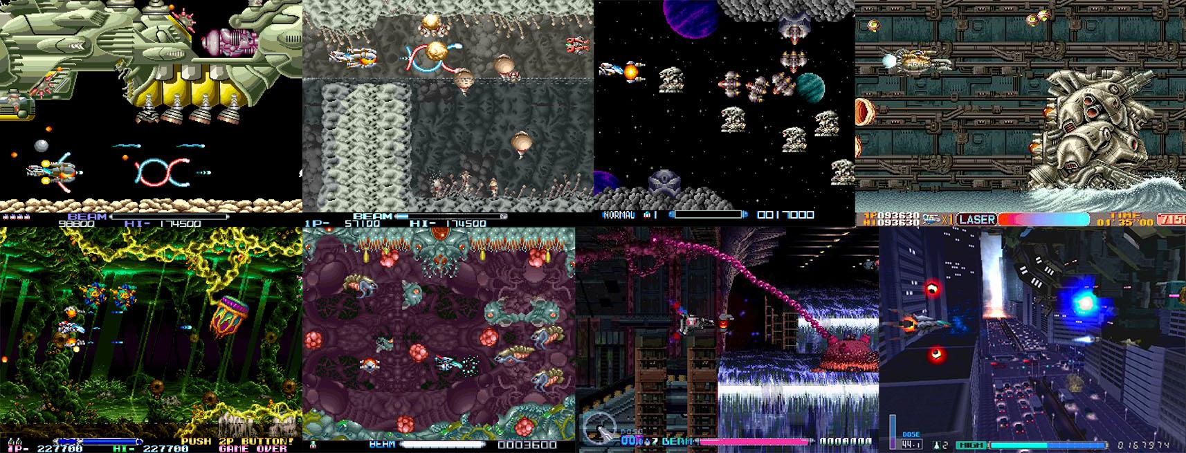 Screenshots, dans l'ordre : R-Type, II, Super, Gallop, Leo, III, Delta, Final.