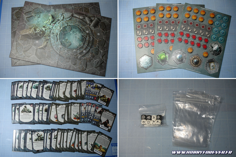 2 plateaux de jeu, des pions en cartons, des cartes, des dés et des sachets pour ranger le tout