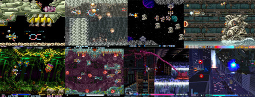 Screenshots, dans l'ordre : R-Type, II, Super, Gallop, Leo, III, Delta, Final.