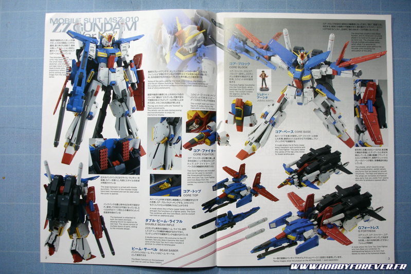 Sans rentrer dans le détail du montage, voici pour conclure quelques photos du ZZ Gundam ver.Ka, issus de la notice.