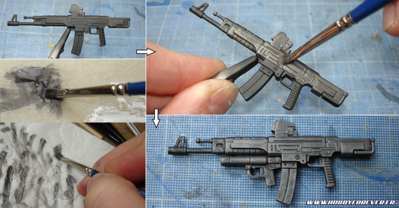 Utilisation de la technique du brossage à sec pour les armes