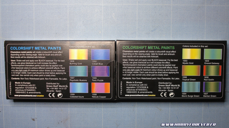 Peintures caméléons Colorshift Metal set 1 et 2 par Green Stuff World & HGUC Acguy de Bandai