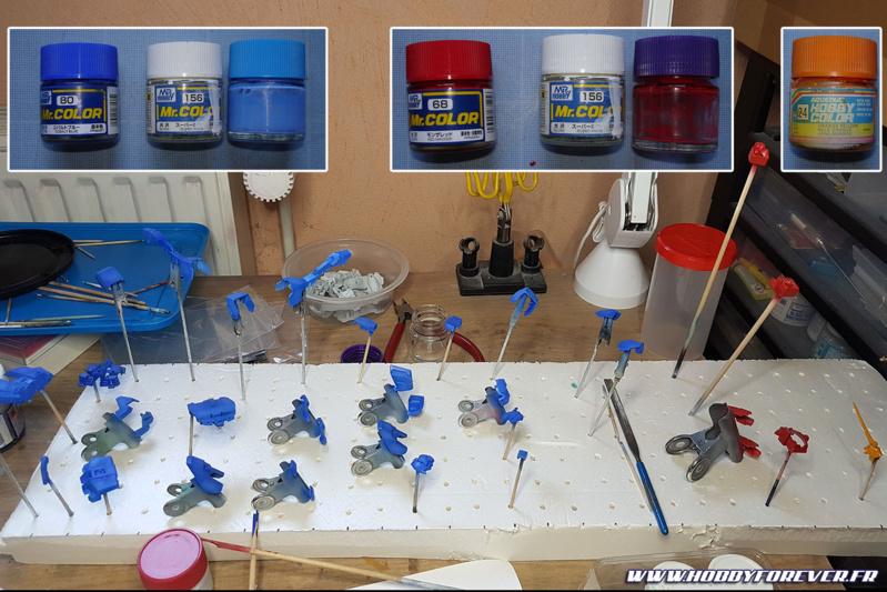 Bleu en Cobalt Blue Mr Color, rouge en Red Madder Mr Color et orange en Orange Yellow Hobby Color