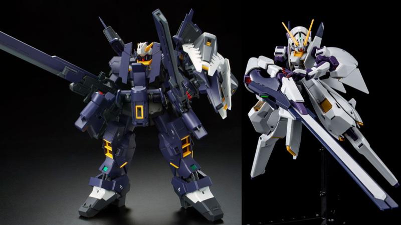 Les nouveaux kits AoZ restent des exclusivités P-Bandai, ici le MG Hazel Gundam Adv. équipé avec deux MG G Part Hrududu, et le HGUC TR-6 Gundam Woundwort