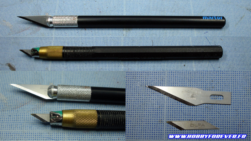 Un porte-lame type Xacto (en haut) et un Design Knife de Tamiya (en bas)