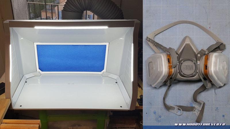 Cabine de peinture avec extraction et masque de protection sont indispensables lorsque l'on peint avec des peintures solvantées