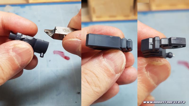 Quelques coupes avec la DSPIA, selon l'emplacement de l'ergot la coupe peut être parfaite ou laisser un peu de résidu, voire mordre dans le plastique si on place mal l'enclume.