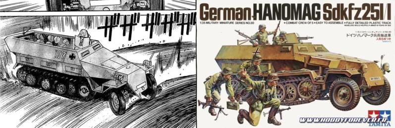 Le dessin original qui m'a inspiré, et la boxart du Sdkfz Hanomag 1/35 de Tamiya