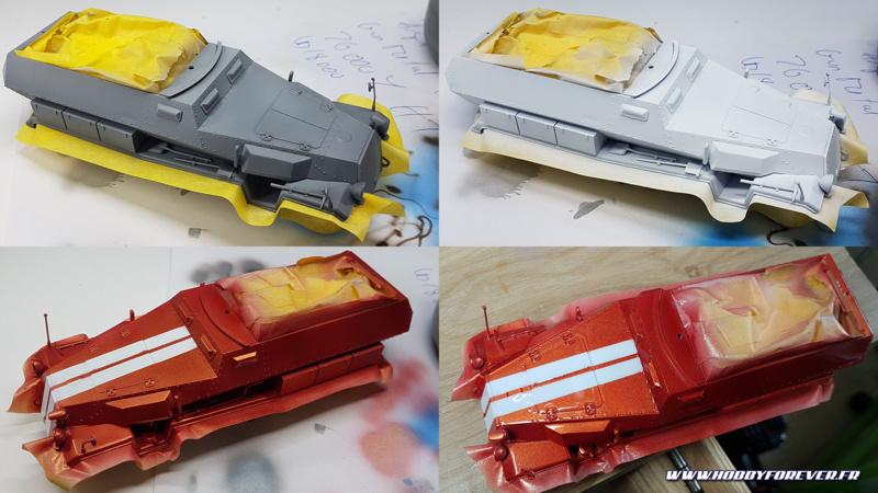 Peinture de la caisse en Solar Red et bandes blanche. La main un peu lourde sur le vernis auto !
