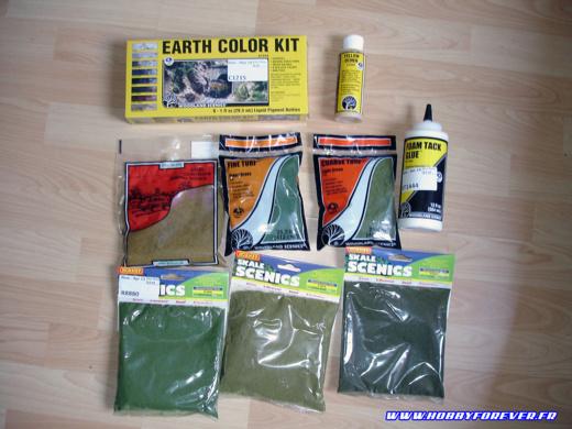 Une partie du matériel utilisé : pigments et flocages