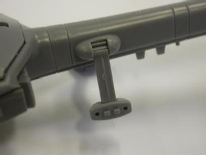 la gatling est supportée par 2 ancrages mobiles