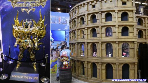 Armure du Sagitaire et colisée de One Piece sur le stand Bandai Namco