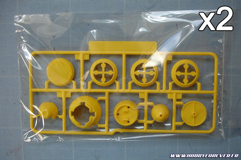 Grappe A en double exemplaire, avec les parties jaunes des réacteurs et du marteau
