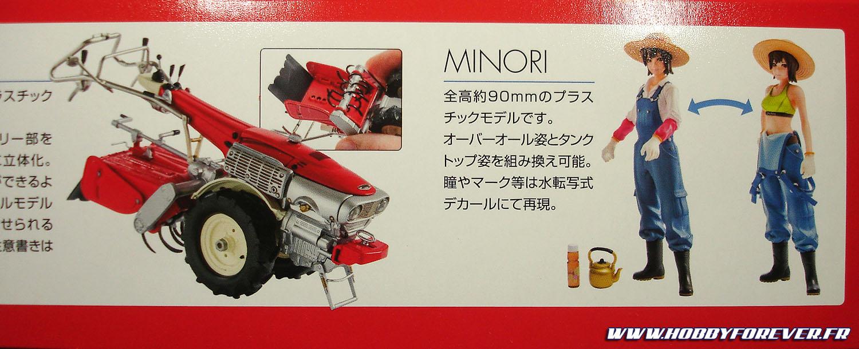 La boite présente les photos du Honda F90 et des deux poses possibles pour Midori