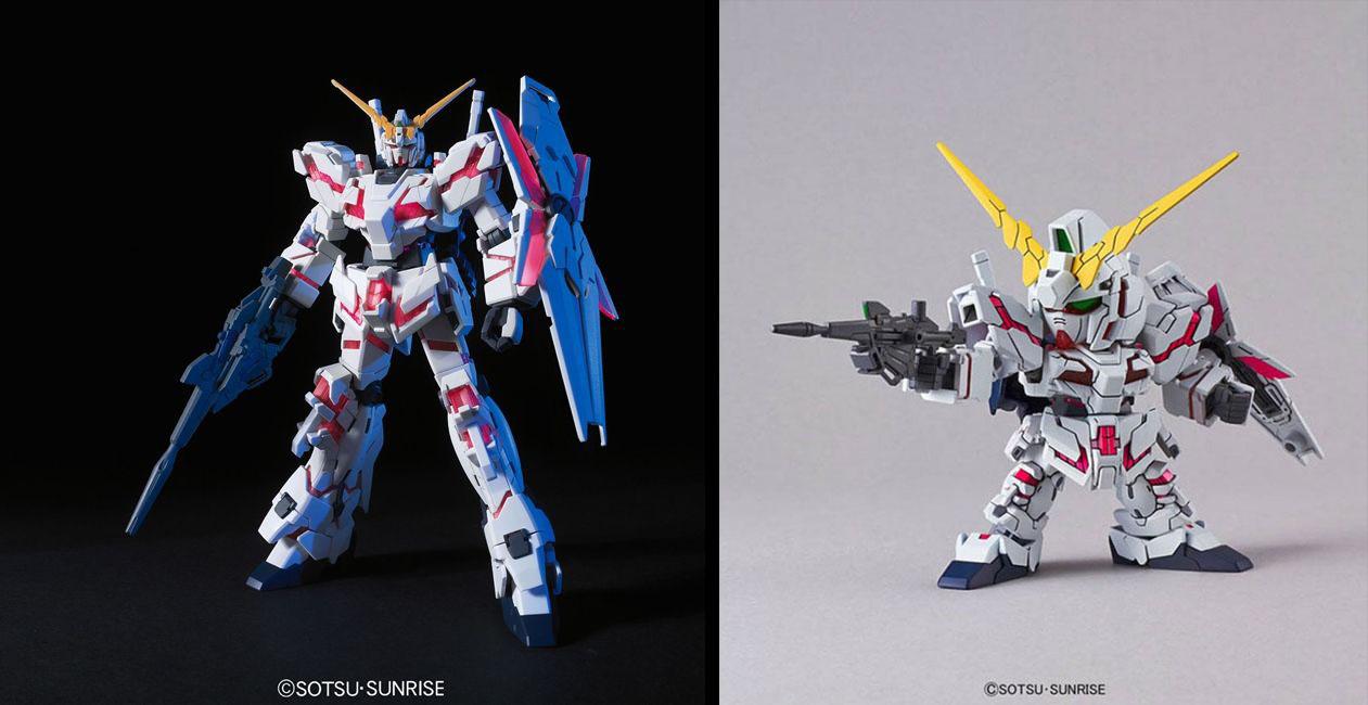 Les deux kits utilisés pour ce projet : le HGUC Unicorn Gundam /et le SD EX Standard Unicorn Gundam