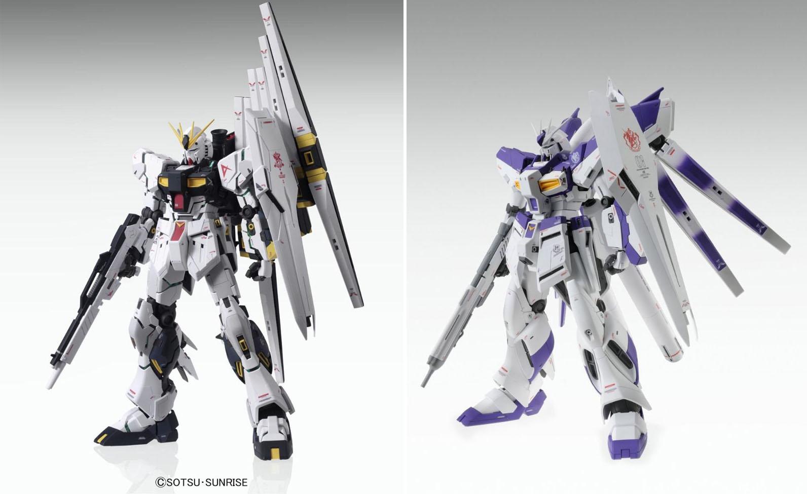 Le MG Nu Gundam ver. Ka sorti en 2012e et le MG Hi-Nu Gundam ver.Ka sorti en 2014. On constate la baisse de niveau du détaillage de l'armure de l'Hi-Nu, beaucoup plus lisse..
