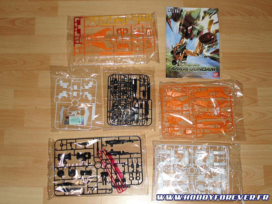 Voici le contenu typique d'une boîte de maquette Gundam