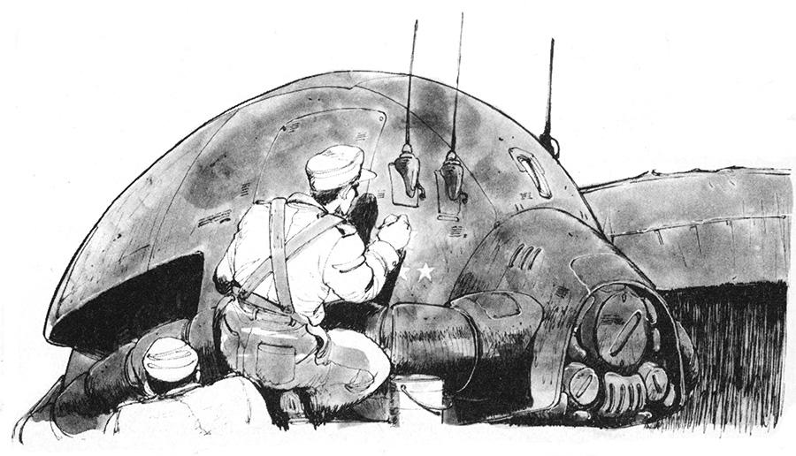 Ce soldat de Zeon customise-t-il son Zaku ? Dessin de Kazuhisa Kondo.