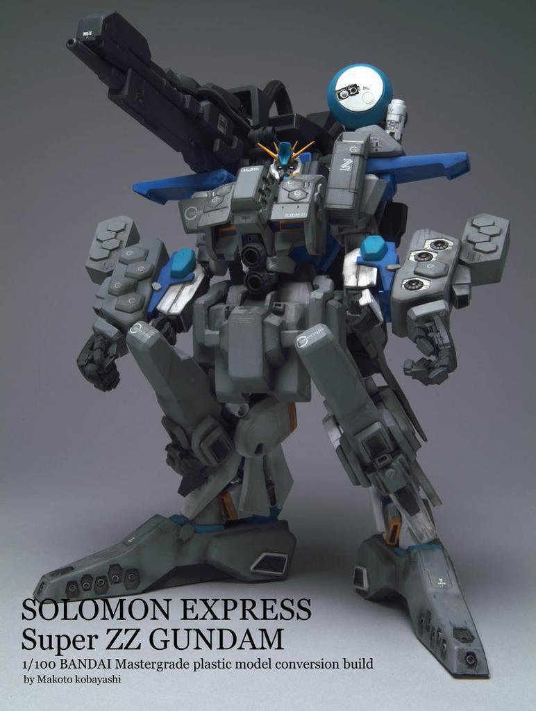 Conversion du MG ZZ Gundam en Super ZZ Gundam par Makoto Kobayashi