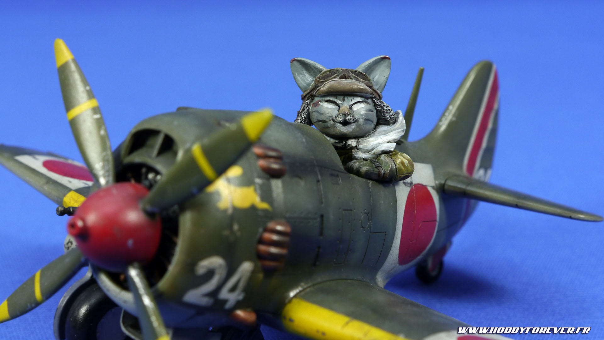 Finished work - Ki-84 Nakajima Cute Model w/ Cat Pilot
