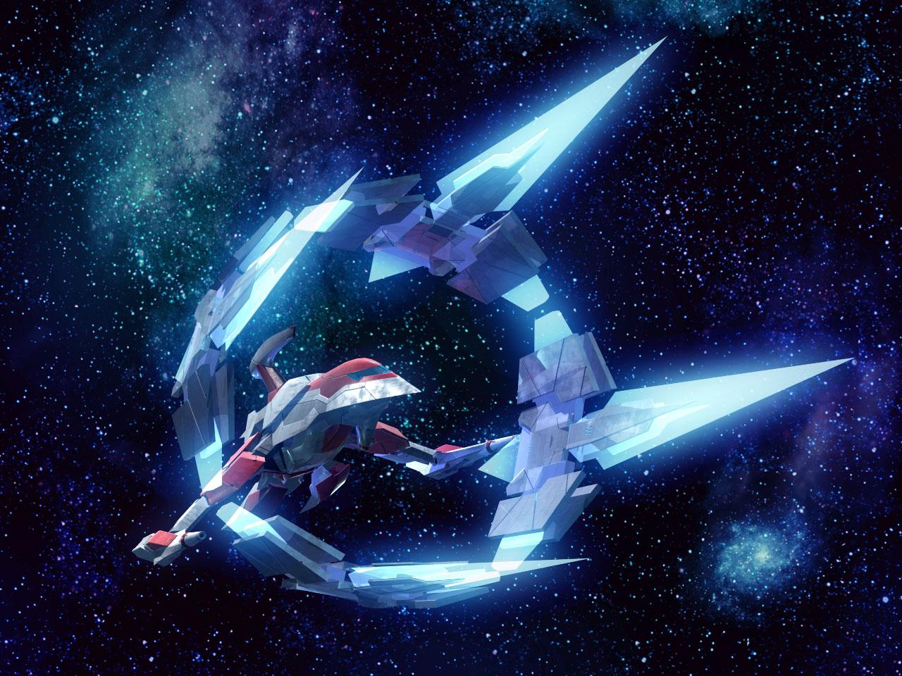 Le Silver hawk de PLUM correspond à la version Legend de Darius Burst, ici représenté avec ses Burst parts