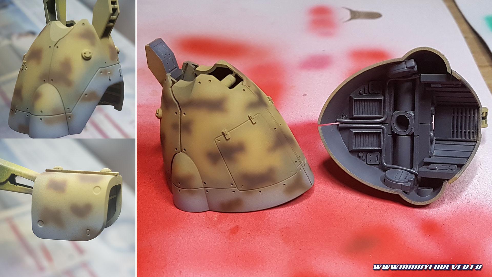 Le Earth Brown AK étant un poil trop clair (photos de gauche), j'ai repris les taches en Flat Brown Tamiya.