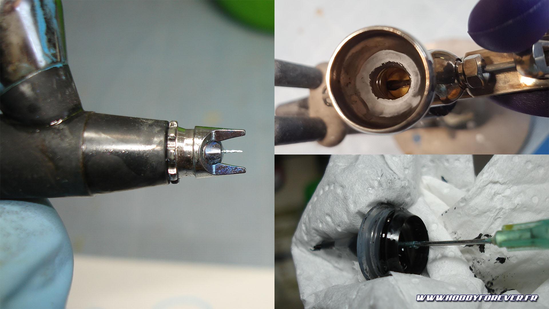 La Stardust Pro sèche très vite et sans un bon entretien, l'aiguille et le godet peuvent rapidement s'encrasser, de même que le compte-goutte des flacons qu'il faudra déboucher avec une aiguille.