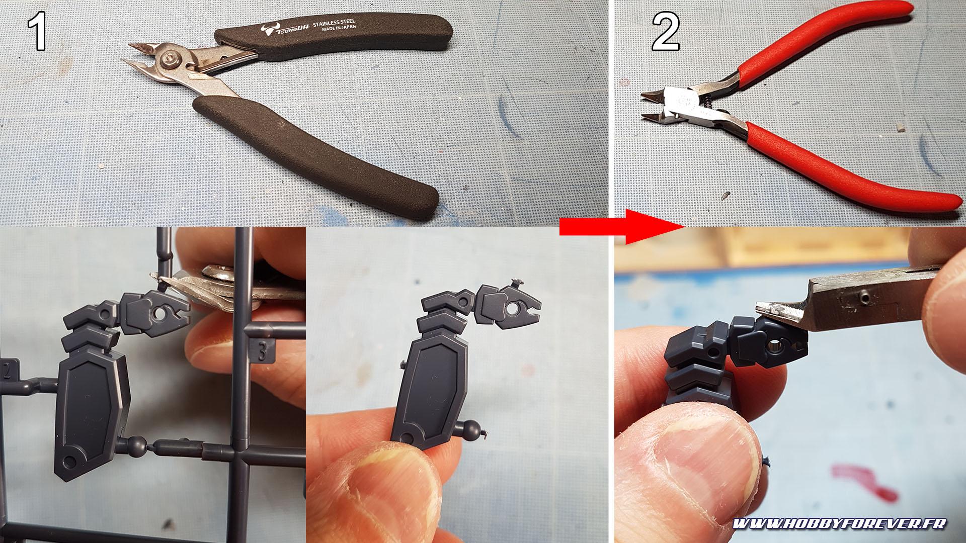 Toujours utiliser une pince robuste pour détacher les pièces avant de finir le travail avec une single blade !