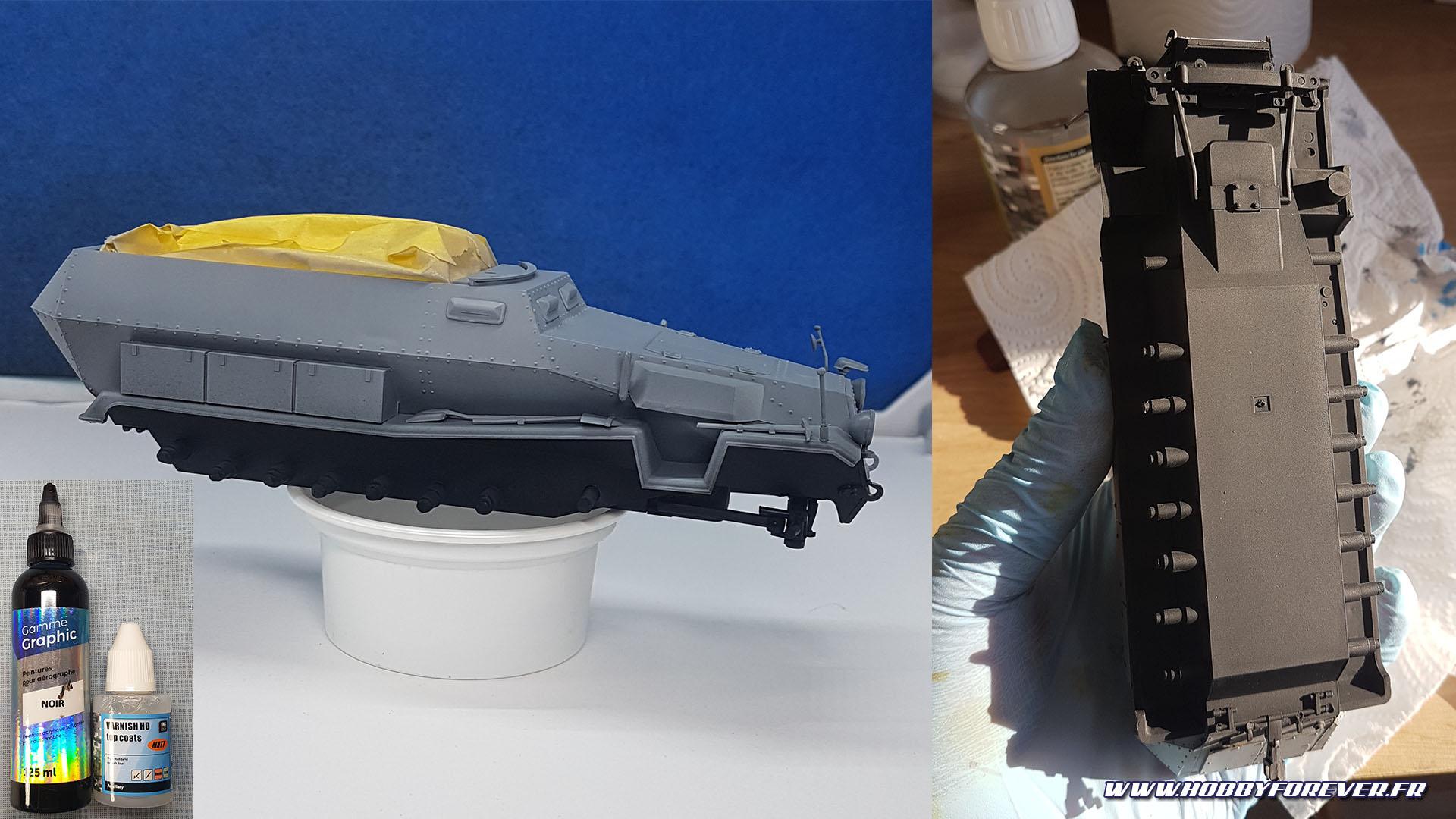 Peinture du bas de caisse en noir et application d'un vernis mat VMS