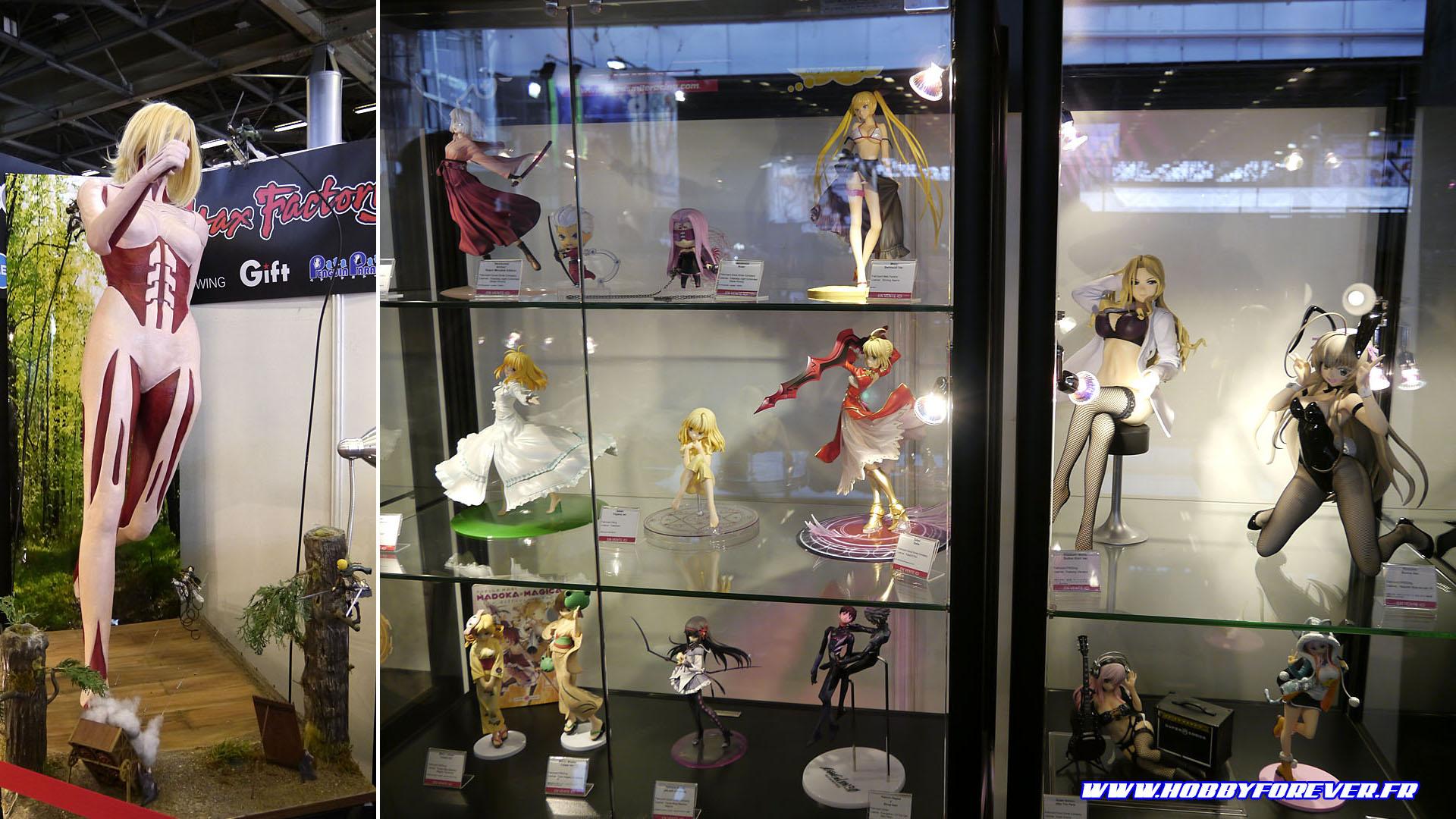 Le stand Good Smile Company, son diorama L'Attaque des Titans et ses figurines