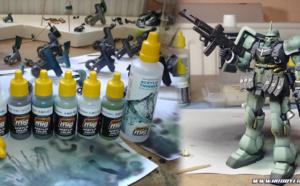 Tutoriel - La peinture acrylique Ammo by MIG Jimenez testée sur le HGUC Geara Zulu